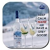 Dessous de verre personnalisable avec inscription en anglais « Keep Calm and Have A Grey Goose » - Cadeau original pour un amateur de Grey Goose