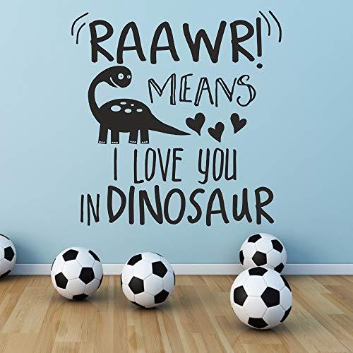 zhuziji Brüllen bedeutet, ich Liebe Dich in Dinosaurier Mädchen Jungen Kinder Wohnzimmer Schlafzimmer Home Decal abnehmbare Vinyl Wall Art Stick schwarz 57 x 59 cm (Stick-ball-fledermaus)