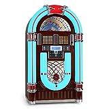 Audiola Majestic JB-3710TT Juke Box rétro con illuminazione a LED frontale multicolor a rotazione (riproduzione da CD, USB e SD) - marrone effetto legno