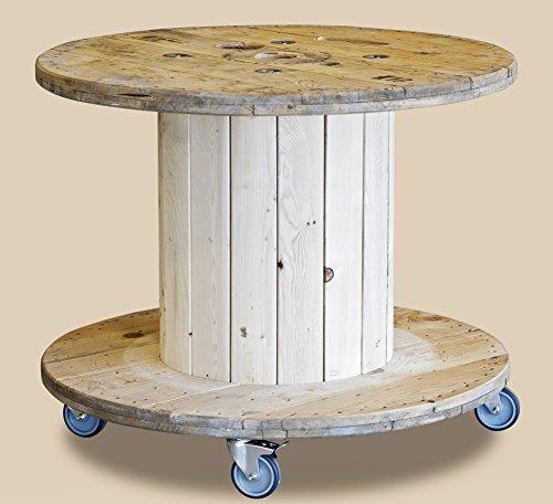 DAFLOXX XL Beistelltisch Rondel 100x75cm Rollen Kabeltrommel Tisch Trommel Holz Braun
