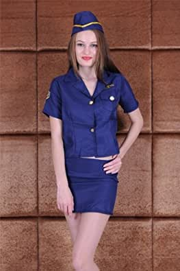 Sexy Blue and Gold Police Fancy Dress Costume Size Small