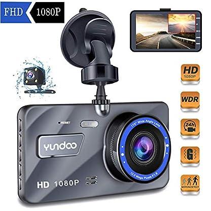 Dual-Dashcam-Full-HD-1080P-Autokamera-Video-Recorder-mit-4-Zoll-LCD-Bildschirm-170Weitwinkelobjektiv-WDR-G-Sensor-Bewegungserkennung-Loop-Aufnahme-Nachtsicht-und-Parkmonitor