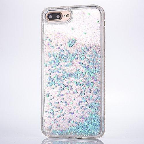 iPhone 8 Hülle, Voguecase Flüssig Diamant Schwimmend Treibsand Glitzer Bling Silikon Schutzhülle / Case / Cover / Hülle / TPU + PC Gel Skin für Apple iPhone 7/iPhone 8 4.7(Liebe/Pink) + Gratis Univers Star/Blau