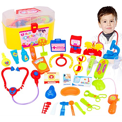 Pädagogische Spielzeug, Lommer 30 Pcs Pretend & Play Doctor Set mit Stethoskop und Ärztliche Ausrüstung Spielzeug (Farbe zufällig)