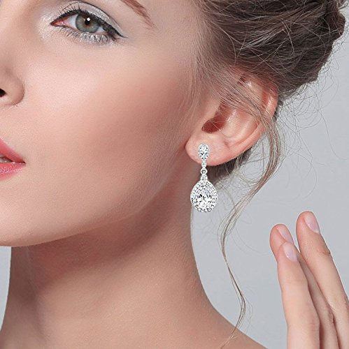 EVER FAITH® Damen 925 Sterling Silber CZ Hochzeit Träne Pierced Dangle Ohrringe Klar