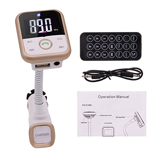 tter, Eincar Wireless FM-Modulator-Radio-Adapter Kfz-Freisprecheinrichtung MP3-Player mit LED-Anzeige Fernsteuerungsunterstützung USB Disk / SD-Karte / 3,5-mm-Aux-in ()
