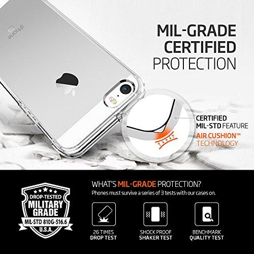 iPhone SE Hülle, Spigen® iPhone 5S/5/SE Hülle [Ultra Hybrid] Luftpolster-Technologie [Crystal Clear] Durchsichtige Rückschale und Transparent TPU-Bumper Schutzhülle für iPhone SE/5S/5 Case, iPhone SE/ UH Crystal Clear