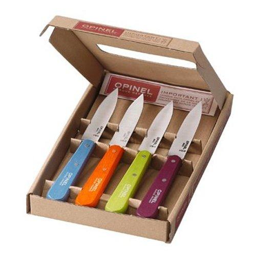 Opinel-Coffret Opinel - 4 Couteaux d'Office n° 112 de Cuisine - Couleur Acidulee