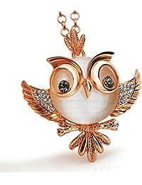 Le Premium® Mignon Owlet Collier Pendentif Gris Eyes le ventre des yeux de chat plaqué or rose