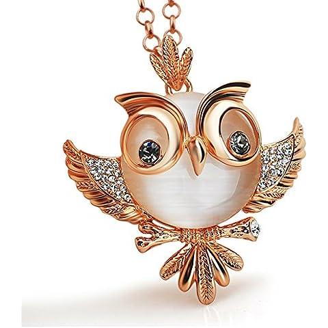 Le Premium® - alta qualità catena lunga collana con pendente simpatico gufo in cristallo occhio grigio, placcato oro