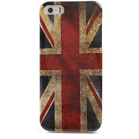 Custodia protettiva compatibile con Apple iPhone 5 (5S, SE) coperchio, coperchio protettivo in silicone TPU con retrò UNION JACK, Regno Unito, Regno Unito, bandiera, bandiera usato sguardo (rosso, bianco, blu, nero, giallo)