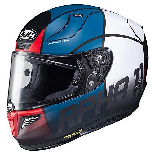 Casco Moto Hjc Rpha 11 Quintain Rosso-Bianco-Blu (M, Blu)
