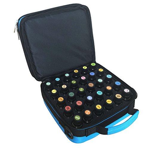 Aozzy 42 slot doppel EVA schaumstoffeinsatz ätherisches öl griff koffer tasche Nagellack lagerung reisetaschen mit schultergurt (Blue) Lagerung Reisetaschen