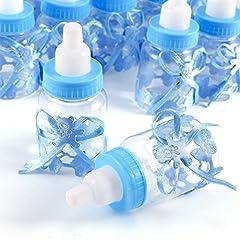 Idea Regalo - JZK® 24 biberon stile bottiglia bottiglina bottigliette portaconfetti porta bomboniere segnaposti per battesimo nascita comunione compleanno bimbo bambino maschio maschietto ragazzo bambini bottigline bottiglietta per caramelle confetti regalino (blu)