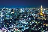 Foto mural Tokio Ciudad Mural Decoración Contorno de noche Metrópolis Torre de Tokio Panorama Foto Japón Deco Mega ciudad Viajar I foto-mural foto pós