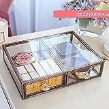 Caja de almacenamiento transparente multifunción 2 rejilla lápiz labial rack Retro de alta capacidad a prueba de polvo con diseño cajón de la cubierta Vidrio bronce moda para mujeres regalo de escritorio no acrílico aparador cuarto de baño rectángulo Caso de maquillaje UOMUN