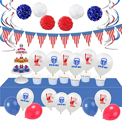 Amosfun 34 Stück American Independence Day Hängedekorationen zum 4. Juli Patriotische Banner, Partyballon, Papierblume Party Dekorationen Set -