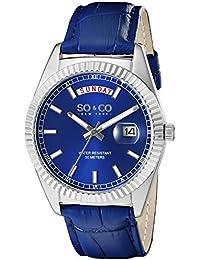 SO & CO New York 5041.2 - Reloj unisex, correa de cuero color azul