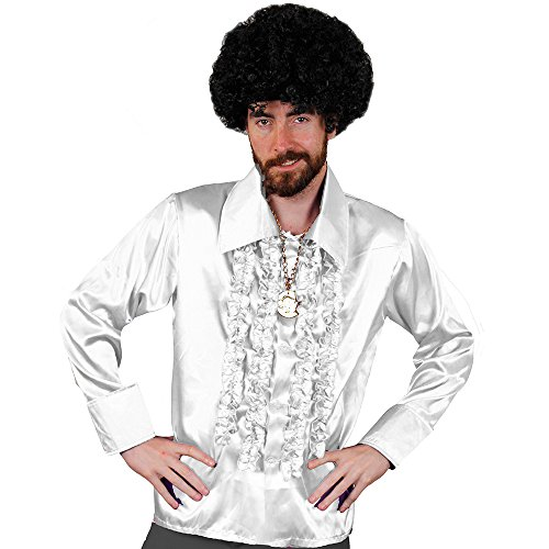 Erwachsene Dude Shirt Für Kostüm Disco - I love Fancy Dress ilfd4604 X XL weiß Disco Shirt Deluxe Herren Disco Rüschen Hemd Disco 70er King Fancy Kleid XXL