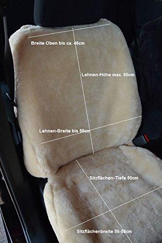Preisvergleich Produktbild 1Paar Autoschonbezüge Luxus Autofelle komplett aus echtem Lammfell Premium (Sekt) für Fahrersitz und Beifahrersitz mit hoher Sitzlehne bis 65cm (Direkt vom Hersteller)