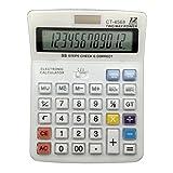 ZHAS Calculadora electrónica, Crystal Button calculadora con pantalla de 12 bits, la energía solar y la batería de alimentación dual Calculadora blanca