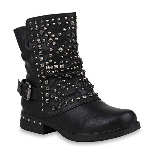 Stiefelparadies Damen Schuhe Biker Boots Warm Gefütterte Stiefel Nieten Stiefeletten 153007 Schwarz Total Berkley 39 Flandell