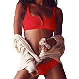 Malloom® Frauen Push-Up gepolsterte BH Beach Bikini Set Badeanzug Bademode weiß (rot, S)