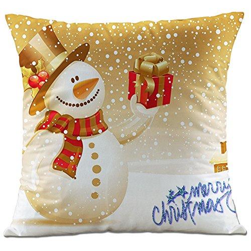 Hangood divano federa cuscini flanella decorazioni per la casa natale pupazzo di neve 45cm x 45cm
