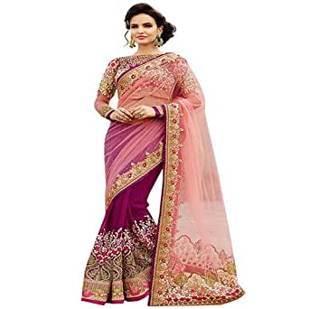 Jhtex Fashion Women's Net And Georgette Saree (DNO-6060-23_Pink)
