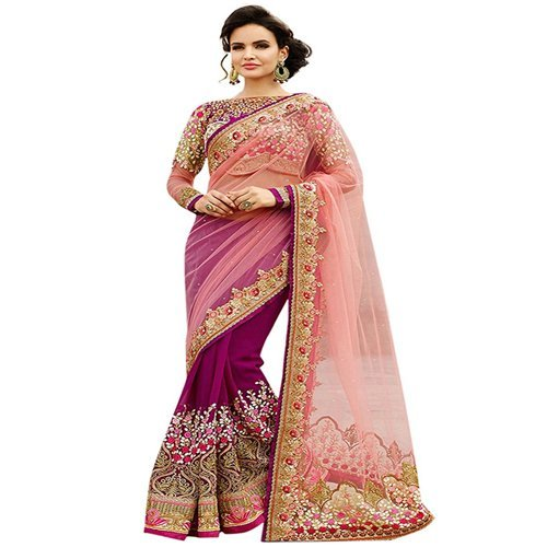 Jhtex Fashion Women\'s Net And Georgette Saree (DNO-6060-23_Pink)