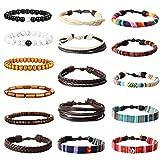 YADOCA 16 Pcs Vintage Bracelet en Cuir Perles de Bois pour Homme Femme Tribal...