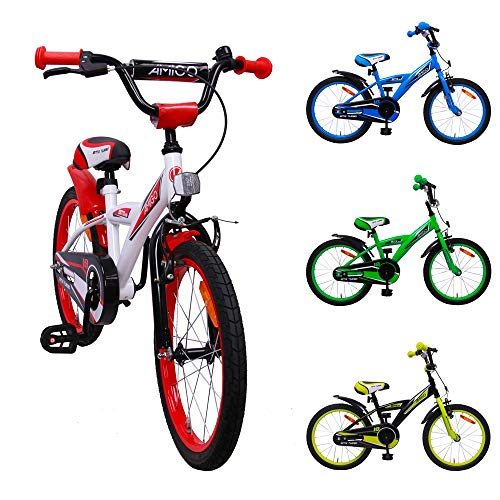 AMIGO BMX Turbo - Kinderfahrrad - 18 Zoll - Jungen - mit Rücktritt - ab 5 Jahre - Weiß/Rot