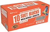 Suet To Go Wild Bird Mealworm and Insect Suet Block, 300 g - Pack of 10
