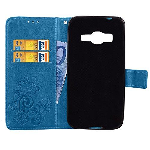 Doppelte magnetische Verschluss geprägte Blumen Premium PU-Leder Schutzhülle Taschenmappe Tasche Folio Stand Case mit Card Slots & Lanyard für Samsung Galaxy J1 Mini Prime ( Color : Rose ) Blue