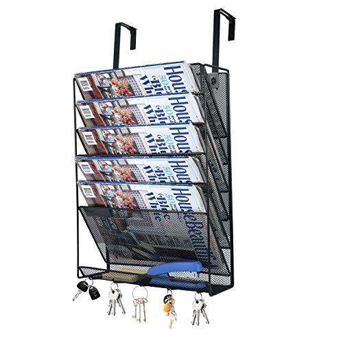 6D Wand-Ordnungsmappe, Metallgeflecht, zum Aufhängen, Wandmontage, Papier, Brief, Dokumente, Zeitschriftenständer, 6 Schlitze plus 1 Fach, Schwarz