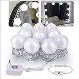 BAYTTER dimmbare LED Spiegelleuchte Schminklicht mit 10 Birnen Badlampe für Schminktisch Kosmetikspiegel Schminkspiegel Badzimmer 6500K 1,5W x 10pcs