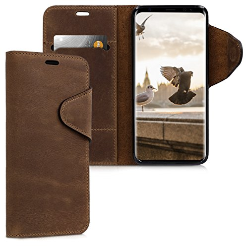 kalibri-Hlle-fr-Samsung-Galaxy-S9-Echtleder-Wallet-Case-Schutzhlle-mit-Fach-und-Stnder-in-Braun