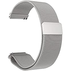 Turnwin Replacement Metal Milanese Loop Bands for LG LGW110 G Watch R Smartwatch (Silver)