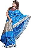 Exotic India Vivid-Blue Banarasi Saree w...