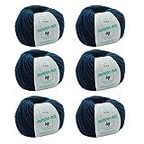 MyOma Strickgarn Merinowolle - Merinogarn Jeans (Fb 3850) - 6 Knäuel blaues...