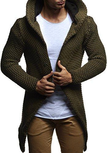 LEIF NELSON Herren Kapuzenpullover Strickjacke Hoodie Jacke Sweatjacke Zipper Sweatshirt LN20742 Khaki