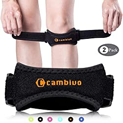 CAMBIVO 2 x Patella Kniebandage, Knieband, verstellbare Patella Band für Damen und Herren beim Sport, Wandern, Fitness, Volleyball