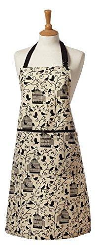 Die britische Textilien CO Vogelkäfig–Schürze Standard beige schwarz Vögel 100% Baumwolle leicht zu tragen Formen (Bettwäsche Utility Schürze)