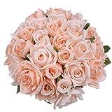 Attvn Kunstblumen Rosen, 2 Stück Blumenstrauß Künstlich 18 kunstblumen köpfe Rosen Kunstblumen Weiss Rosen für Hochzeiten, zu Hause, Garten, Party