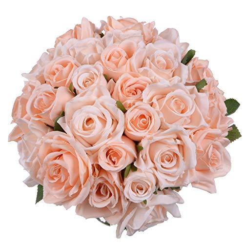 Attvn Künstliche Blumen Rosenstrauß Kunstblumen Seide Kunststoff Künstliche Rosen 18 Köpfe Brautstrauß Hochzeit für Haus Garten Party Hochzeit Dekoration