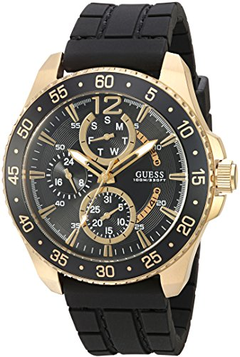 GUESS Men's U0798G3 Sporty Gold-Tone Stainless Steel Watch with Multi-function Dial and Black Strap Buckle