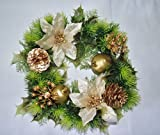 10 inch Artificial Gold Poinsettia & Holly Christmas Wreath for indoors and outdoors by A1-Homes