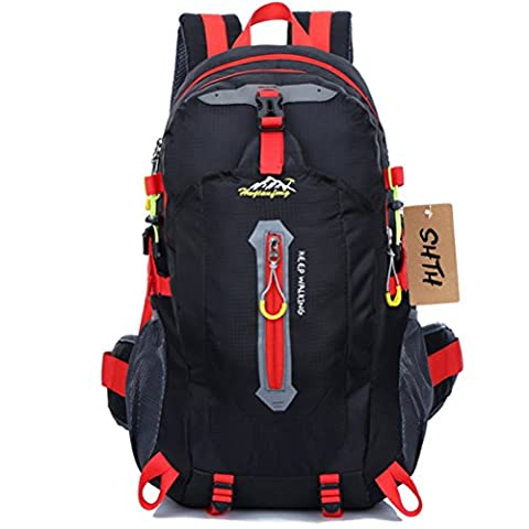SHTH 35L+5L Wasserdichte Outdoor Sport Wandern Trekking Camping Rucksack Travel Pack-Bergsteigen Klettern Knapsack,52 (H) x 30(L) x 20(W) cm (Schwarz)