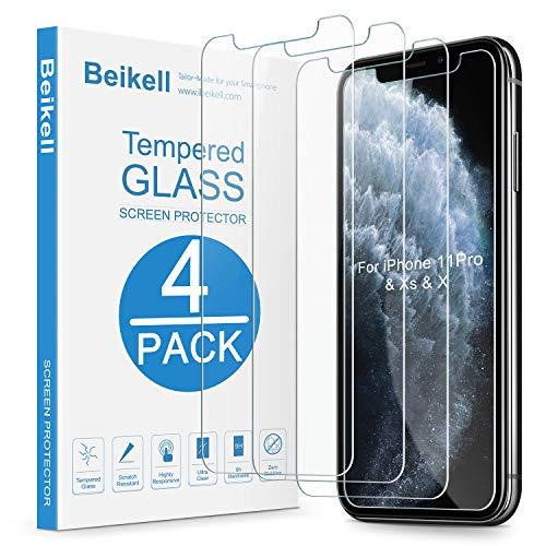 Beikell [4 Stück Schutzfolie für iPhone 11 Pro/iPhone XS/iPhone X, HD Displayschutzfolie mit 9H Härte, Anti-Kratzen, Anti-Bläschen, Hüllefreundllich kompatibel mit iPhone 11 Pro/X/XS
