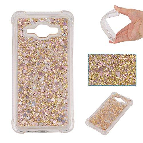 ChoosEU Compatible with Samsung Galaxy Grand Prime G530 Transparent Silikon Glitzer Muster Flüssig 3D Handyhülle Durchsichtig Glitter Schutzhülle Bumper Stoßfest Slim Case Soft Cover - Gold -